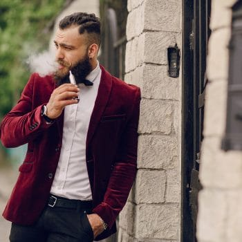 bearded man with e-cigarette