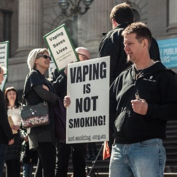 Vapers gathered to protest the introduction of new laws that would treat vaping like smoking