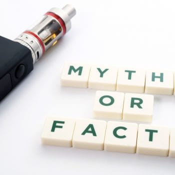 Myths or facts about electronic cigarette, conceptual image.
