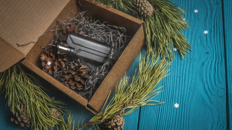 black vaporizer out of a gift box with pine cones and pine branches